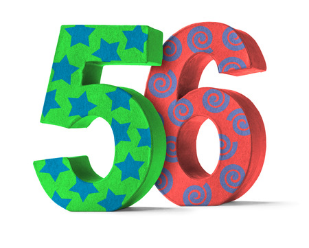 paper mache: Colorful Paper Mache Number on a white background  - Number 56 Stock Photo