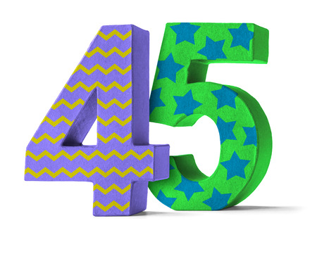 45th: Colorful Paper Mache Number on a white background  - Number 45