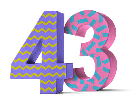 paper mache: Colorful Paper Mache Number on a white background  - Number 43