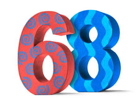 paper mache: Colorful Paper Mache Number on a white background  - Number 68 Stock Photo