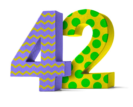 paper mache: Colorful Paper Mache Number on a white background  - Number 42