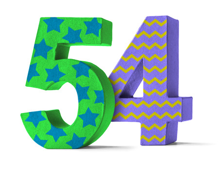 54: Colorful Paper Mache Number on a white background  - Number 54