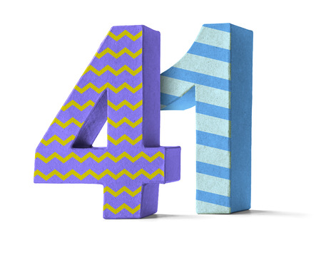 paper mache: Colorful Paper Mache Number on a white background  - Number 41