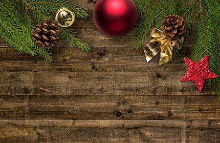 table decoration: Christmas decorations with copy space