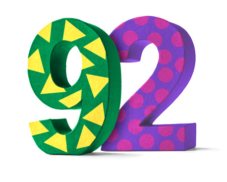 92: Colorful Paper Mache Number on a white background  - Number 92