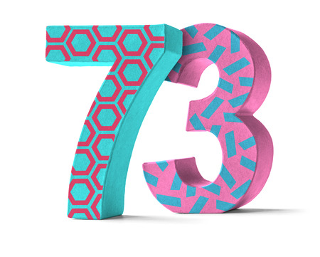 paper mache: Colorful Paper Mache Number on a white background  - Number 73