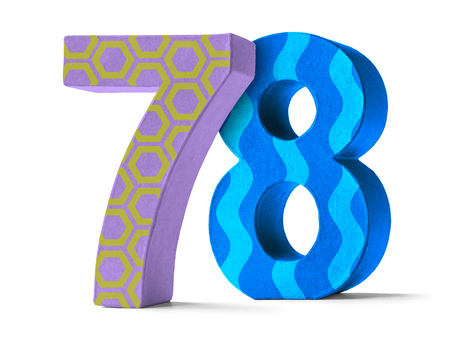 78: Colorful Paper Mache Number on a white background  - Number 78