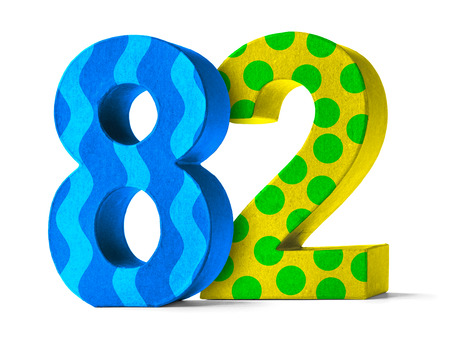 paper mache: Colorful Paper Mache Number on a white background  - Number 82
