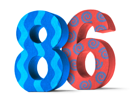 paper mache: Colorful Paper Mache Number on a white background  - Number 86
