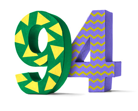 paper mache: Colorful Paper Mache Number on a white background  - Number 94