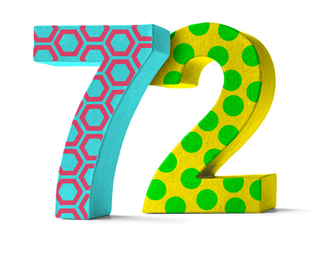 paper mache: Colorful Paper Mache Number on a white background  - Number 72