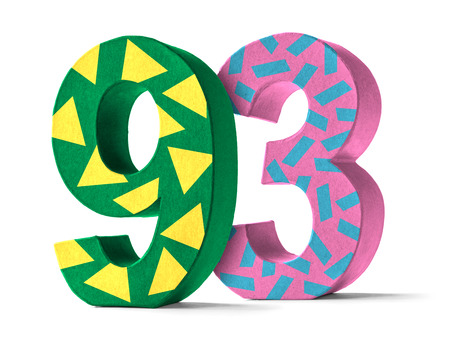 paper mache: Colorful Paper Mache Number on a white background  - Number 93