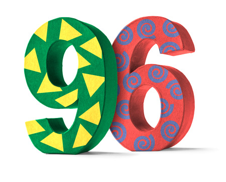 paper mache: Colorful Paper Mache Number on a white background  - Number 96