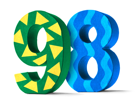paper mache: Colorful Paper Mache Number on a white background  - Number 98 Stock Photo