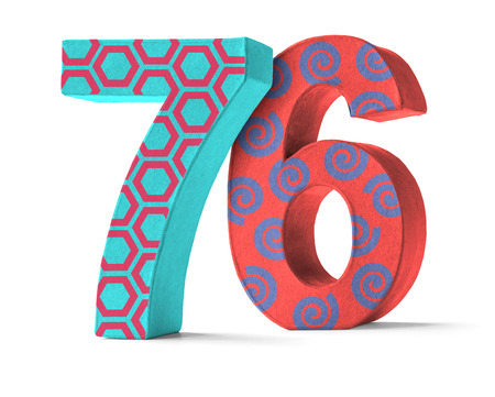 paper mache: Colorful Paper Mache Number on a white background  - Number 76
