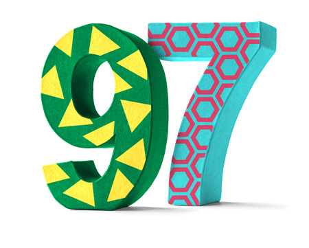 paper mache: Colorful Paper Mache Number on a white background  - Number 97