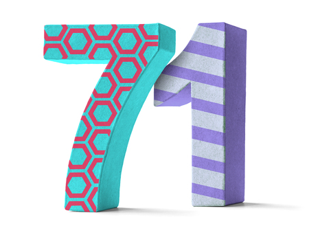 paper mache: Colorful Paper Mache Number on a white background  - Number 71
