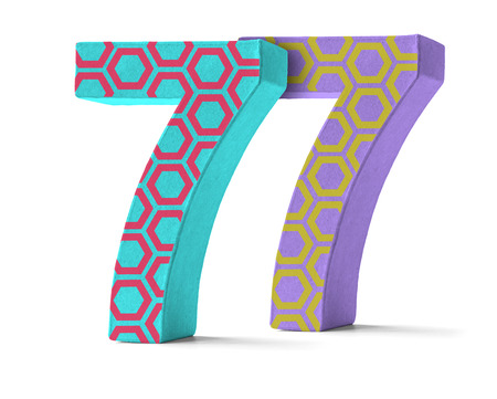 paper mache: Colorful Paper Mache Number on a white background  - Number 77
