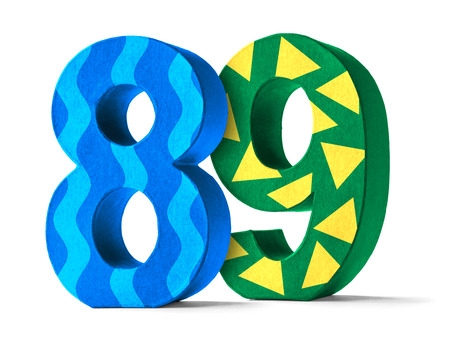 paper mache: Colorful Paper Mache Number on a white background  - Number 89 Stock Photo