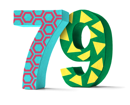 paper mache: Colorful Paper Mache Number on a white background  - Number 79