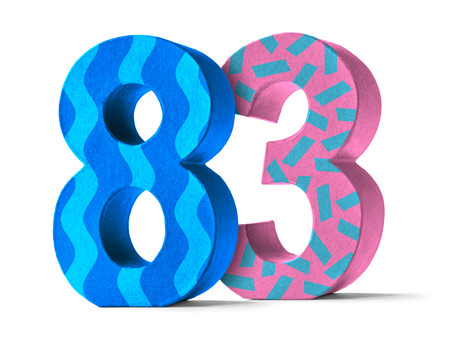 83rd: Colorful Paper Mache Number on a white background  - Number 83