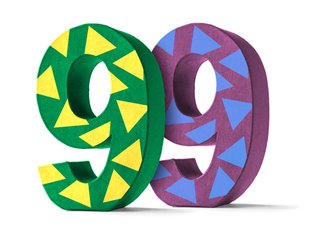 99: Colorful Paper Mache Number on a white background  - Number 99