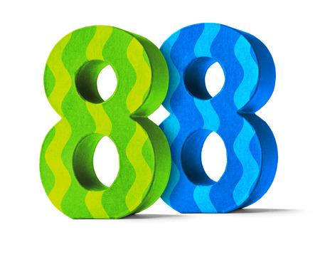 Kleurrijke papier Mache nummer op een witte achtergrond - Number 88 Stockfoto