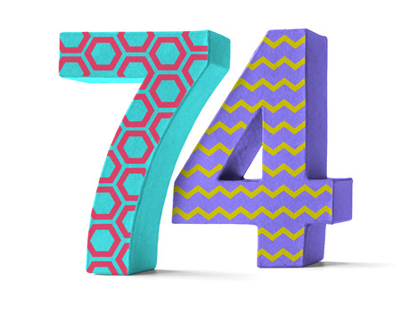 paper mache: Colorful Paper Mache Number on a white background  - Number 74 Stock Photo