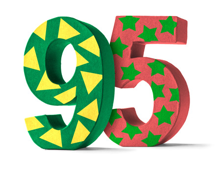 paper mache: Colorful Paper Mache Number on a white background  - Number 95 Stock Photo