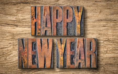 letterpress blocks: Antique letterpress wood type printing blocks - Happy New Year