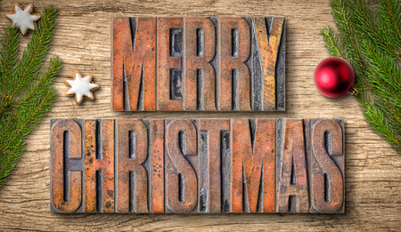antique background: Letterpress wood type printing blocks - Merry Christmas