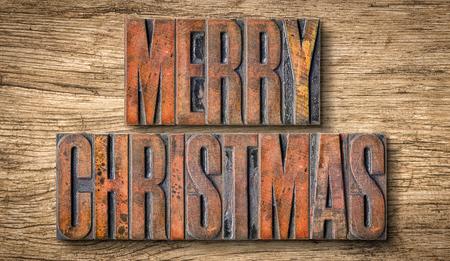 letterpress blocks: Antique letterpress wood type printing blocks - Merry Christmas