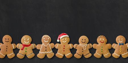 Gingerbread men on a blackboard
