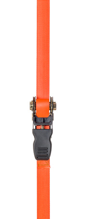 straps: Orange ratchet strap on a white background