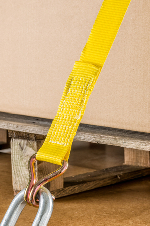 straps: Load securing with lashing strap Stock Photo