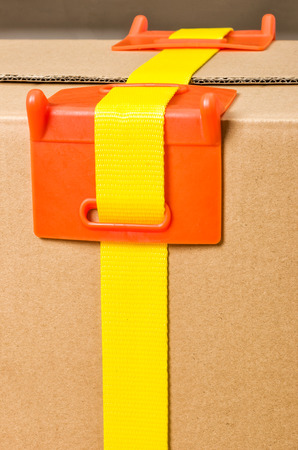 securing: Load securing -  Corner protection Stock Photo