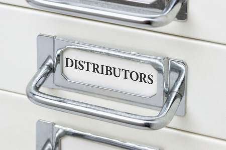 cardbox: A drawer cabinet with the label Distributors