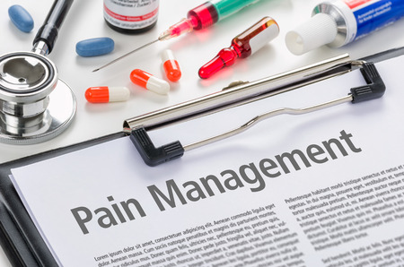 Pain Management written on a clipboard Banco de Imagens - 49221988