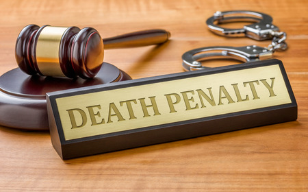 penalty: A gavel and a name plate with the engraving Death Penalty