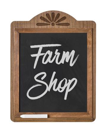 farm shop: A chalkboard sign on a white background - Farm Shop