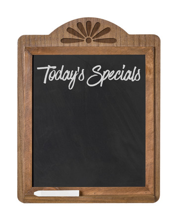specials: A chalkboard sign on a white background - Todays Specials