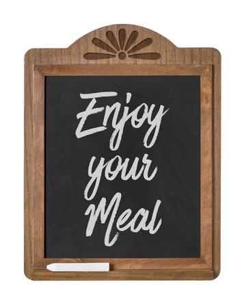 Eine Tafel Zeichen auf weißem Hintergrund - Genießen Sie Ihre Mahlzeit