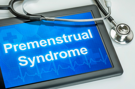 premenstrual: Tablet with the diagnosis Premenstrual Syndrome on the display Stock Photo
