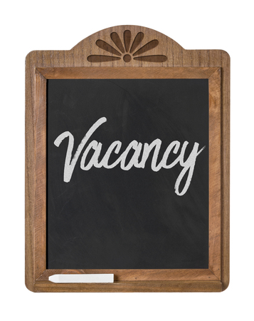 holidays vacancy: A chalkboard sign on a white background - Vacancy