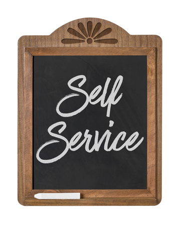 self service: A chalkboard sign on a white background - Self Service