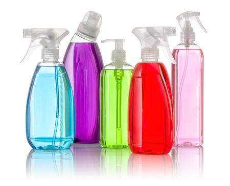 toxic: Various cleaning supplies on a white background Stock Photo