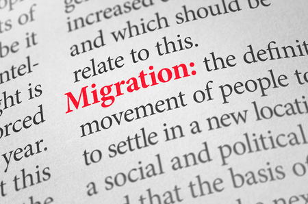immigrate: Definition of the word Migration in a dictionary