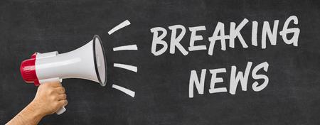 breaking: A man holding a megaphone - Breaking news