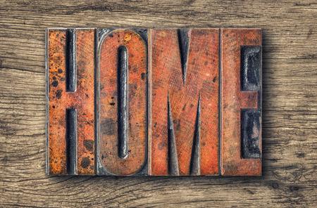 wood sign: Antique letterpress wood type printing blocks - Home