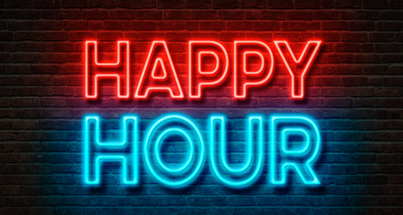 happy hour: Neon sign on a brick wall - Happy Hour